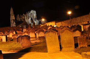 Saint Mary's Church Yard and Whitby Abbey by night