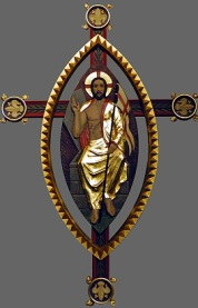 Jesus is the gate of heaven and sits in figure made from the overlap of two circles representing heaven and earth.