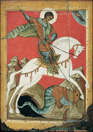 St George & the Dragon  - 15th C. tempera on wood