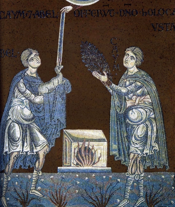 Abel and Cain offer their sacrifice to God