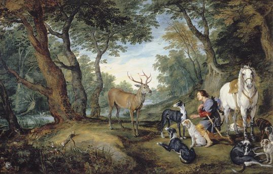 The Vision of Saint Hubert - Jan Brueghel - after Rubens