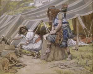 """Jame Tissot  """"And Esau said to Jacob, Feed me, I pray thee, with that same red pottage; for I am faint: therefore was his name called Edom. And Jacob said, Sell me this day thy birthright."""" (Genesis 25:30-31)"""