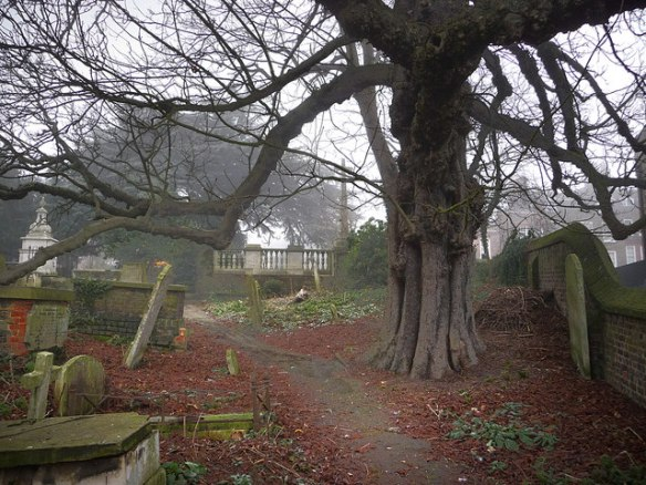 Churchyard of Saint John at Hampstead where Evelyn and her husband are buried.
