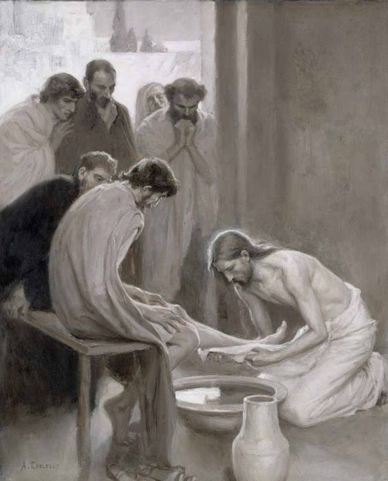 Jesus Washing The Feet Of His Disciples - Albert Edelfelt